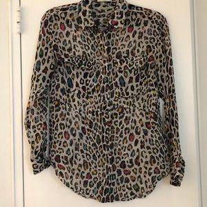 100% silk cheetah print top in XS by Equipment